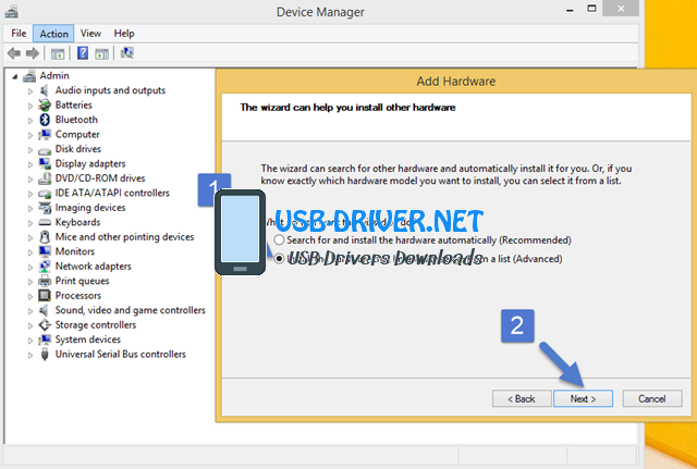 usb driver Add Legacy Hardware Advanced - Archos 55 Cobalt Plus