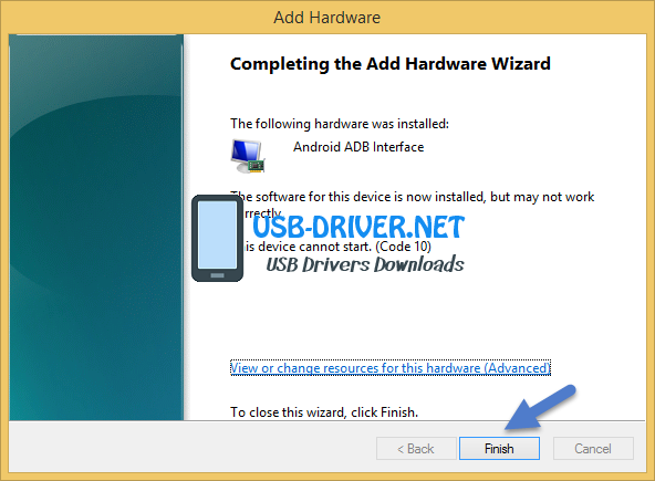 usb driver Completing The Add Hardware Wizard - Archos 55 Cobalt Plus