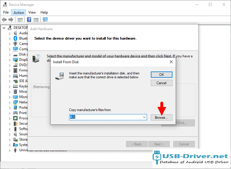 Download Hero A800 USB Driver - add hardware browse