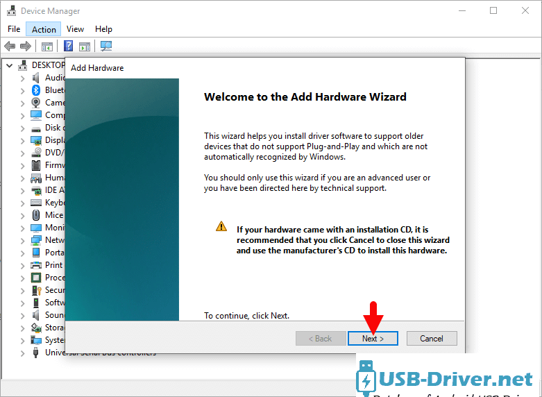 Download Hero A800 USB Driver - add hardware next