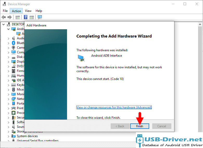 Download Hero A800 USB Driver - driver finish