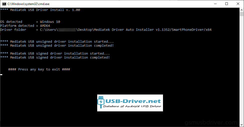 Download Yusun LA7-L USB Driver - mediatek driver auto installer setup finish